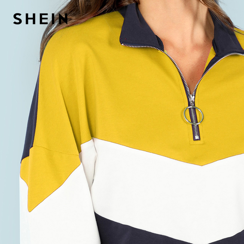 Shein Multicolor O-ring Zip Front Cut And Sew Sweatshirt Athleisure Stand Collar Raglan Sleeve Sweatshirt Women Autumn Pullovers Women's Clothing
