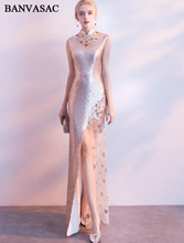 BANVASAC 2018 Pearls High Neck Sequined Split Mermaid Long Evening Dresses Party Metal Sash Lace Appliques Prom Gowns