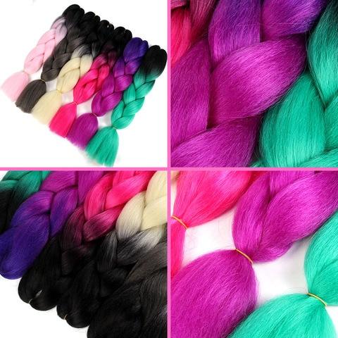 SAMBRAID 24 Inch Ombre Synthetic Hair Jumbo Braiding Hair For Jumbo Braids 100g/Pack Crochet Braids False Hair Extensions Karachi
