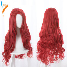 Aquaman Mera Cosplay Wig American Anime Movie 85cm Long Curly Wavy Heat Resistant Synthetic Hair Women Costume Party Wig Red цена 2017