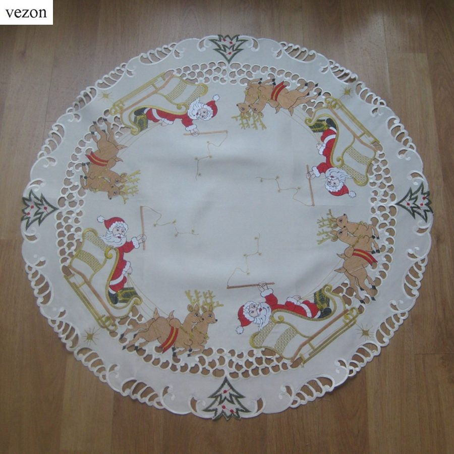 vezon Sale Christmas Embroidery Table Topper Polyester Embroidered Xmas Satin Table Runner Cloth Covers Santa Claus