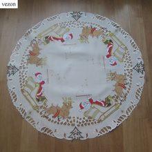 Vezon Verkauf Weihnachten Stickerei Tischauflage Polyester Bestickt Weihnachten Satin Tischläufer Tuch Abdeckungen Weihnachtsmann Deer Overlay