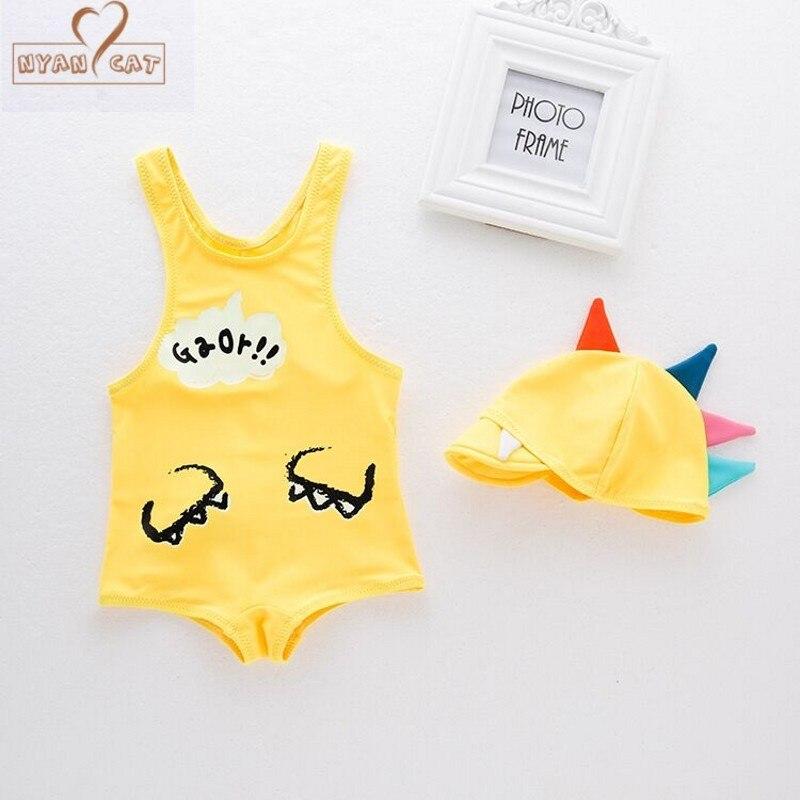NYAN CAT Baby boy swimsuit cartoon dinosaur swimwear +hat infant toddler kids children spa vacation swimming pool clothing set