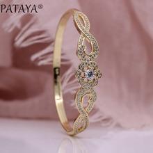 PATAYA New Fine Noble Women Bangles Petal White Round Natural Zircon Fashion Jewelry 585 Rose Gold Wedding Luxury Hollow Bangle