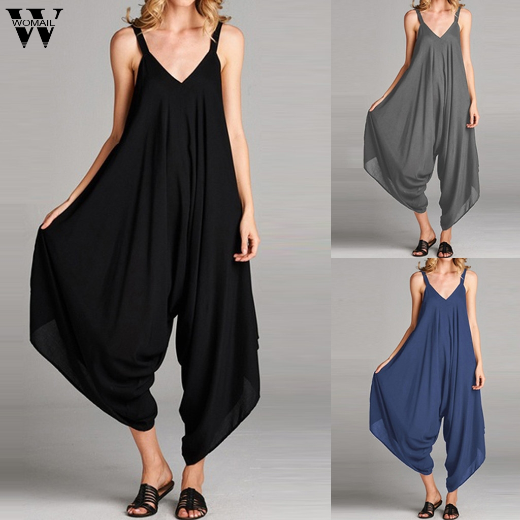 Womail Bodysuit Women Fashion Summer V Neck Solid Sleeveless Long Jumpsuit Work Jumpsuit Casual Trousers 2019 M530