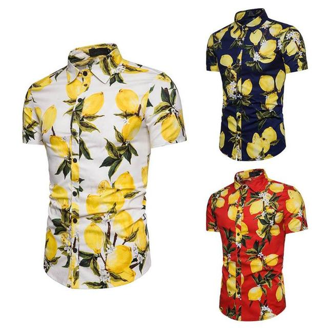 7a1c1878394 Mens Hawaiian Shirt Male Casual Lemons Printed Beach Shirts Short Sleeve  brand clothing Free Shipping Asian Size M-3XL
