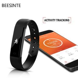 Image 2 - Bluetooth スマート歩数計睡眠トラッカーためケットボールリストバンドスポーツフィットネストラッカー腕章コールリマインダリモコンソーシャルメディア