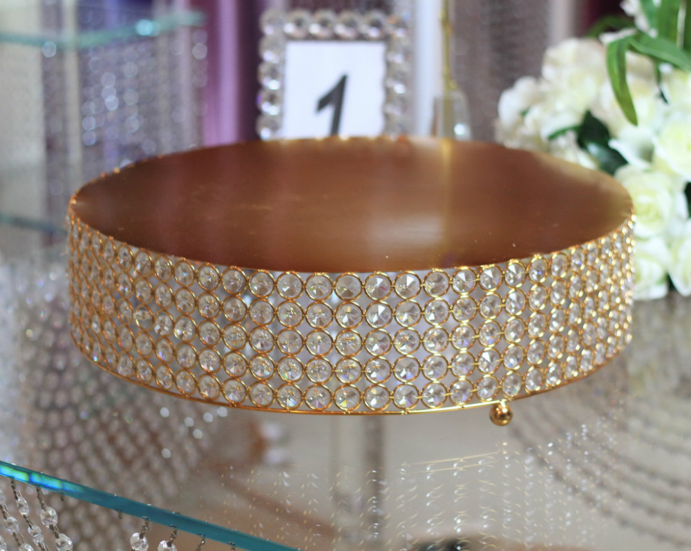 Free Shipping Retail Round Wedding Crystal Cake Stand Decoration 46 46cm Gold Metal Available In Party Diy Decorations From Home Garden On Aliexpress