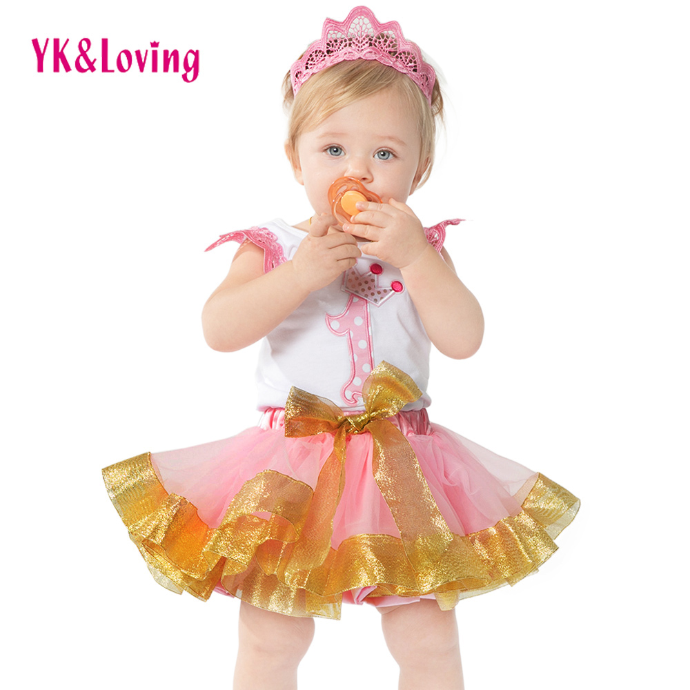 Pink 1st Birthday 2016 Boutique Outfits Sets For Kids Girl Sleeveless Shirts Tops+Tutu Skirts With Bow Clothes Party Dance Wear 2016 new fashion boutique outfits for omika baby girls sets with 2 pcs cute print long sleeve tops bow tutu skirts size 4 12y