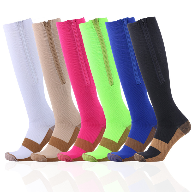 Brothock Pure Color Zipper Compression Stockings Sport Pressure Socks Calf Shaping Protection Elastic Training Athletic Socks