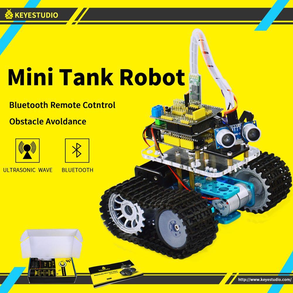 Keyestudio bricolage Mini réservoir Smart Robot voiture kit pour Arduino Robot éducation programmation + manuel + PDF (en ligne) + 5 projets