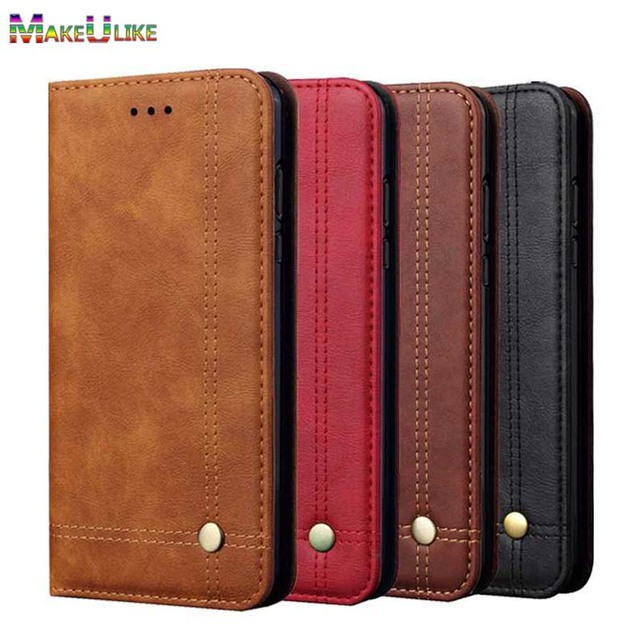 on sale 6ebcb b175d MAKEULIKE Flip Case For Samsung Galaxy J6 J8 2018 Wallet Case Adsorption PU  Leather Phone Bag Case For Samsung J8 J6 2018 Cover