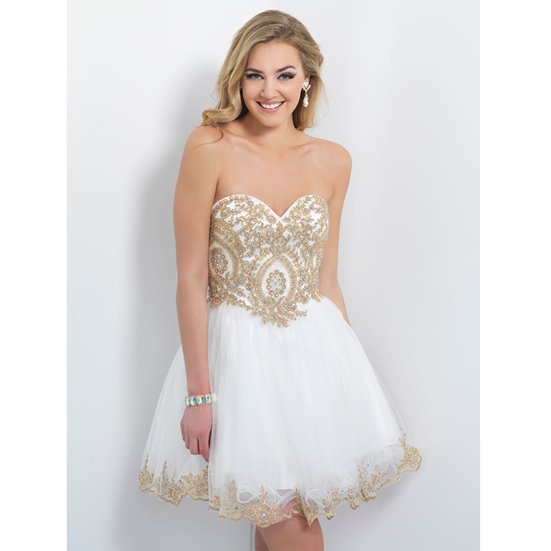 Elegant White Prom Dresses Beaded Gold Appliques A line Backless ...