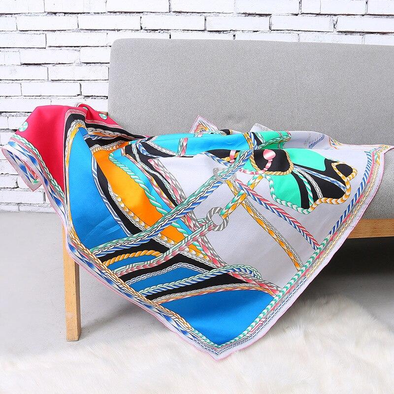 100% Twill Silk Blue   Scarf   Women Horse Head Hijab Fashion Print Shawls&  Wraps   16mm Foulard Neckerchief 2018 Hand Rolled 90x90cm