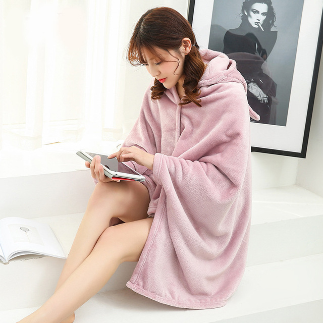 Winter Thick Comfy Hooded Plaid Blanket Sweatshirt Unicorn Warm Coats TV Hoodie Blankets Fleece Blanket Adult for Sofa Beds Kids 2