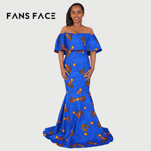 FANS FACE African Women Tradtional Printing Dashiki Sleeveless Off Shoulder 2018 Ladies Slim Fit Long African Dresses For Women(China)