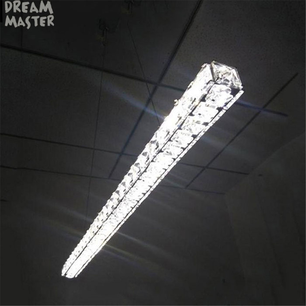 Modern l70cm long bar led crystal chandelier dining room kitchen island lights restaurant office lighting fixtures