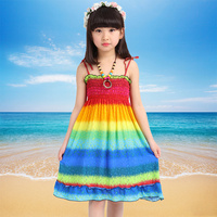 Bohemian Style Girls Dress Summer Floral Beading Necklace Sundress for Girls Beach Dresses Clothes for children 9 years Vestido