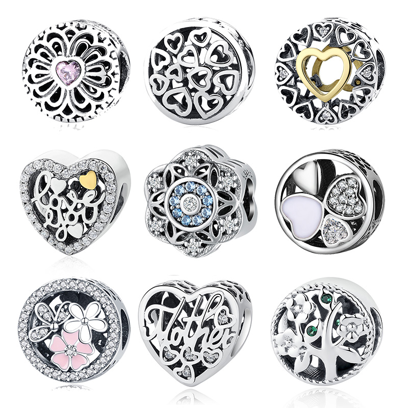 925 Sterling Silver Tree of Life Daisy Clover Love Heart Snowflake Charm Beads fit Charm Bracelet Valentine Jewelry Mother Gift цена