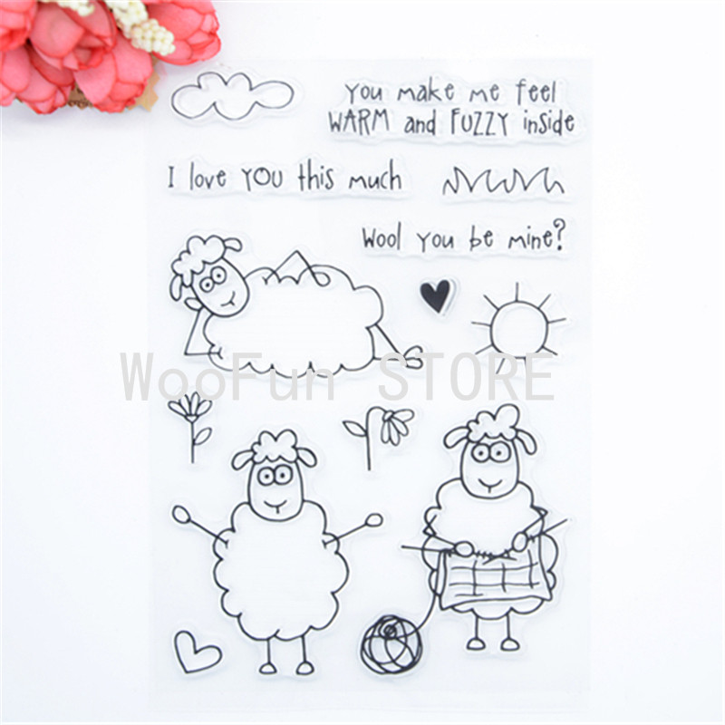 WYF883 Scrapbook DIY Photo Album Cards Transparent Silicone Rubber Clear Stamp 11x16cm You make me feel Warm Sheep wyf1017 scrapbook diy photo album cards transparent silicone rubber clear stamp 11x16cm camera