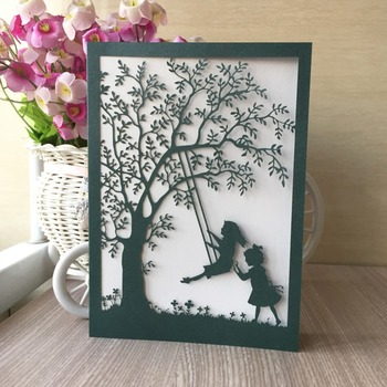 35pcs New Elegant Hollow Swing Pattern with tree Wedding Invitation card for Children Birth Happy Birthday Invitation Card