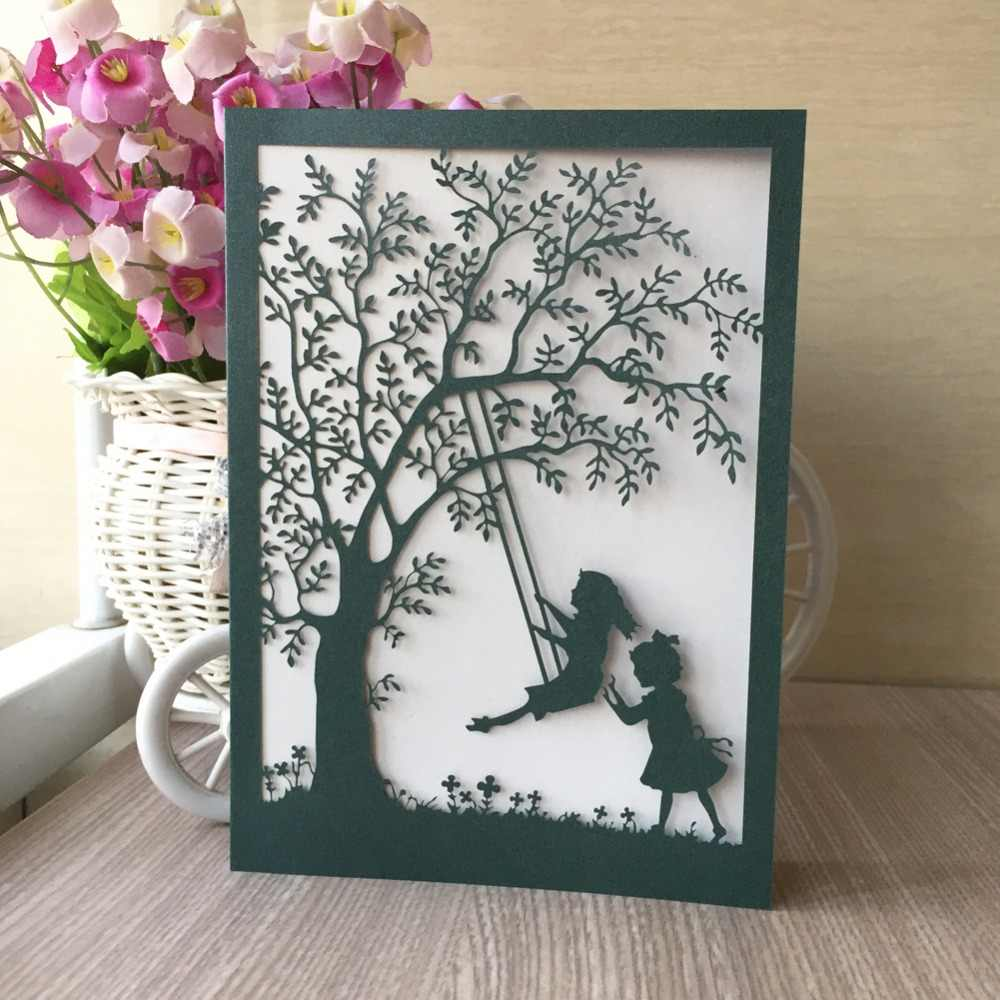 35pcs New Elegant Hollow Swing Pattern With Tree Wedding Invitation Card For Children Birth Happy Birthday Invitation Card