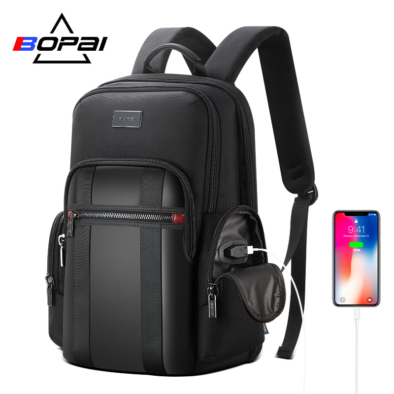 BOPAI Backpack Men USB Anti theft Business Backpack for 15 6inch Laptop Backpack Black Back Pack