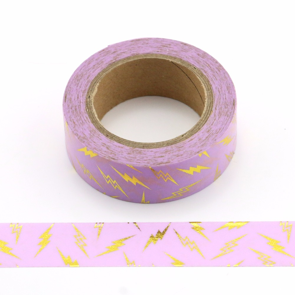 1X Foil purple lighting Washi Tape Colors Set Stationery Decorative Tape Scrapbooking Christmas washi tape Scrapbook Paper in Office Adhesive Tape from Office School Supplies