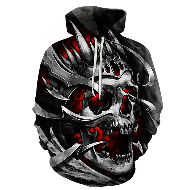 New 2019 Custom Unisex Sweatshirt 3D Skull Printed Pullovers Hoodies Dropship S-6XL