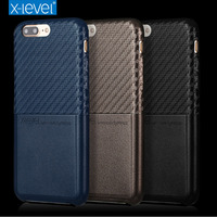 X Level For IPhone 7 Plus Case Accessories Luxury Brand 3D Carbon Fiber Leather Silicone Card