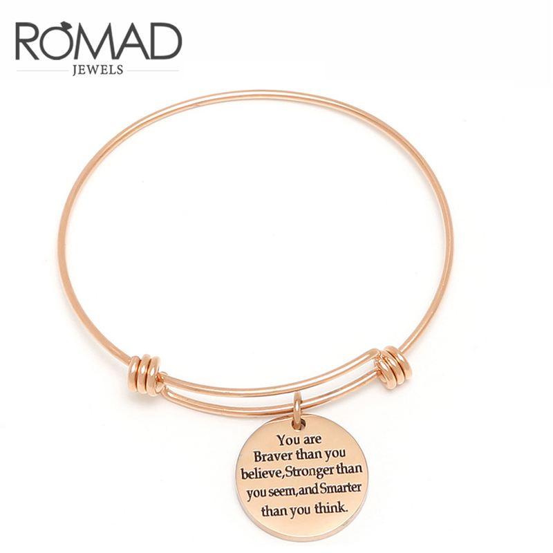 8a0c3a5e2abbd US $1.99 46% OFF|Stainless Steel Bangles Engrave Adjustable Letter Bracelet  For Women indian Rose Gold Love Bangle jonc Best Friend Jewelry Z45-in ...