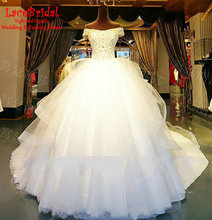 Lebanen Cathedral Train Luxury Ball Gown Short Sleeve Lace and Beaded Diamond Wedding Dresses 2016 Long Tiered Bridal Gown XW172
