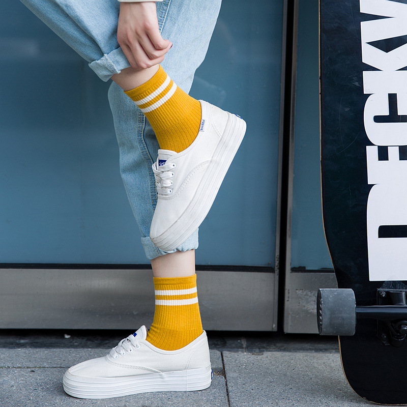 1 Pair Spring Unisex Stripes Women   Sock   Breathable Cotton Skateboard   Sock   Solid Color Harajuku Female Men Comfortable   Socks