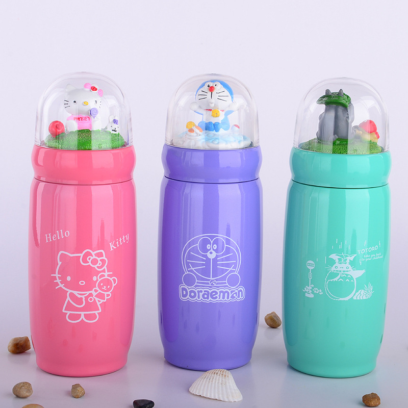360ml creative cute design Vacuum Cup Mugs water bottle kettle Stainless Steel Thermal Thermos Doraemon hello Kitty gift for kid