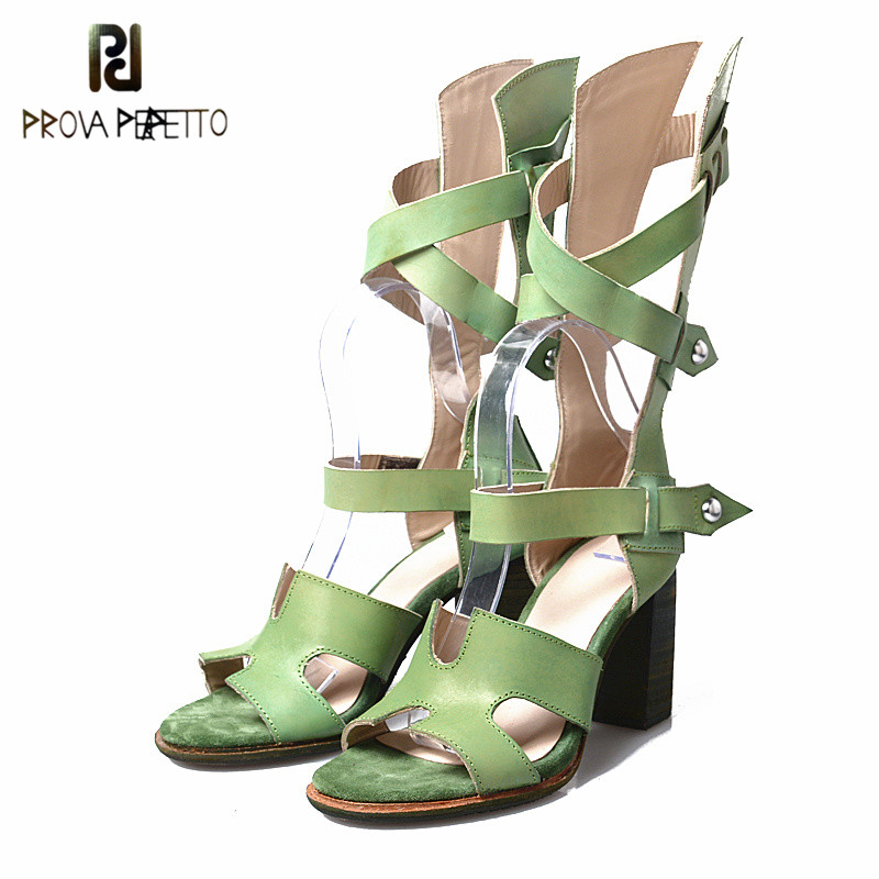 Prova Perfetto Western Style High Heel Sandal Rome Summer Hollow Out Narrow Band Mid Boots Shoe