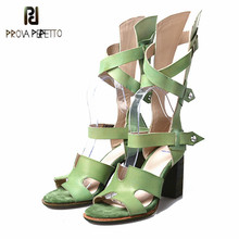 Prova Perfetto Western Style High Heel Sandal Rome Summer Hollow Out Narrow Band Mid Boots Shoe Woman Real Leather Women Sandals