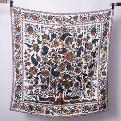 14m/m Tree of Life 100% Twill Silk Scarf Printing Luxury Brand Design Handmade Hemming Scarves Bandana Square 90*90cm
