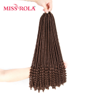 Miss Rola Faux Locs Curly Crochet Braid Hair 30# Kanekalon Low Temperature Fiber 18inch Synthetic Braiding Hair Extensions 5pcs