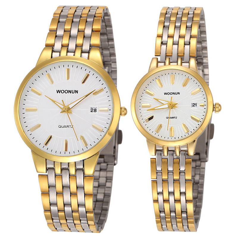 WOONUN Famous Brand Watch Luxury Gold Women Men Full Steel Quartz Ultra Thin Watches Couple Watches