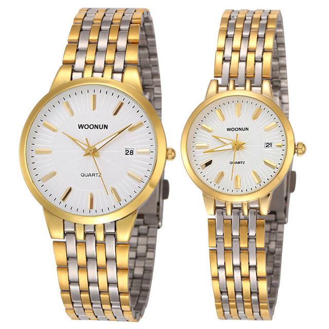 WOONUN Famous Brand Watch Luxury Gold Women Men Full Steel Quartz Ultra Thin Wat