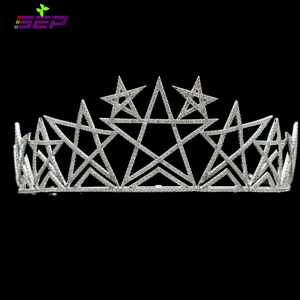 цены AAA CZ Cubic Zirconia Star Tiara Crown for Bridal Women Wedding Hair Jewelry Girl Pageant Headpiece TR15131