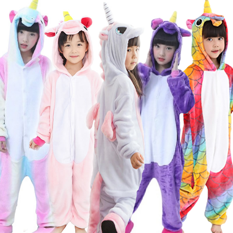 Flannel Kigurumi Children Pajamas Set Winter Hooded Animal Unicorn Pikachu Stitch Kids Pajamas For Boys Girls Sleepwear Onesies