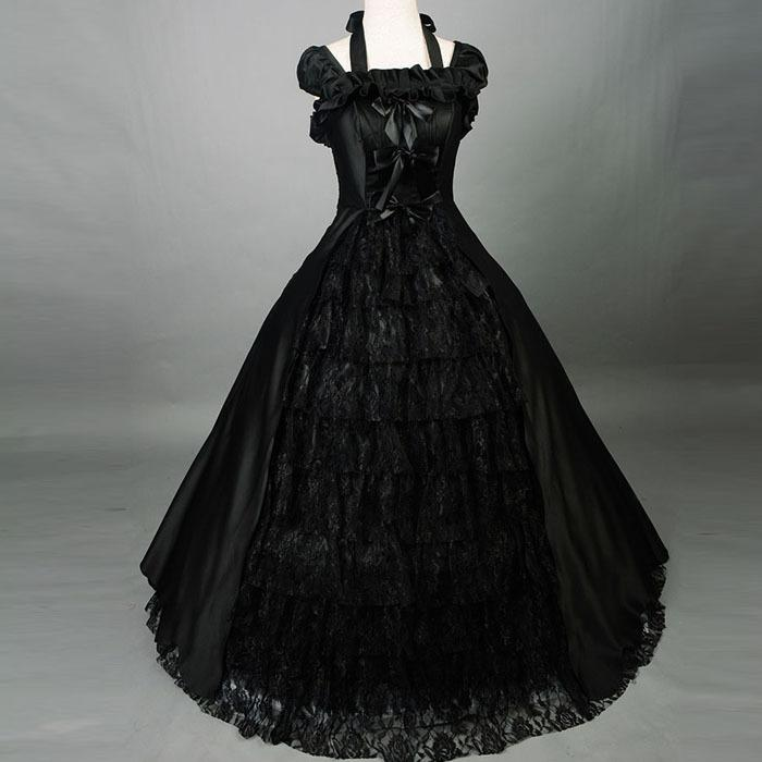 Southern Bell Costume Black Lolita Gothic Colonial Brocade Period Dress Ball Gown Theatre Halloween Costumes for Women Black Dre
