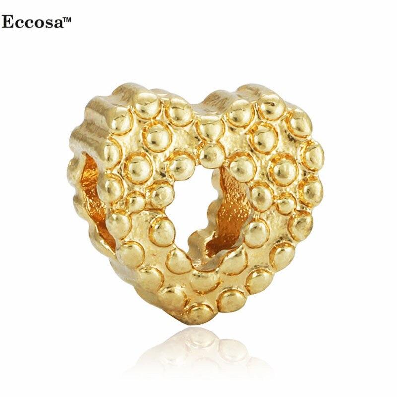 9f9c07fb1127 Joyería de moda 1 unid chapado en oro Bijoux amor corazón granos venta al  por mayor grandes del agujero granos y perlas pulseras de la joyería que  hace