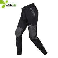 WOSAWE Men Cycling Pants Winter Thermal Fleece Warm MTB Bike No Pad Clothing Sportswear Windproof Reflective Sports Trousers