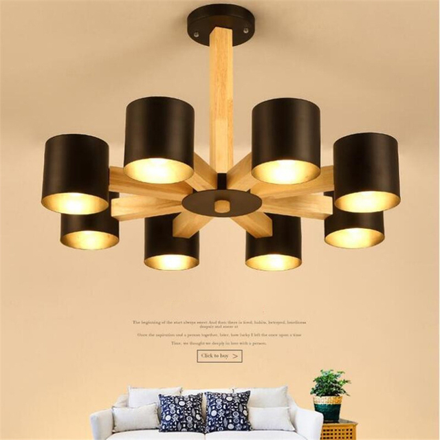 3 / 6 / 8  Head Modern Home Contracted Wooden Dining Room Pendant Lights Cafe Light Bar Light Retro Bedroom Light  Free Shipping