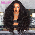 180 Density Peruvian Full lace Wig Virgin Hair Wavy Human Hair Lace Front Wigs With Baby Hair Natural Hairline For Black Women