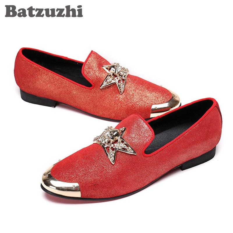 Hombres Zapatos Y De Casual Rojo Nuevo Mens Estrella Batzuzhi Hombre Metal Partido Pisos Cuero Mocasines Boda Con xqnTPw4U