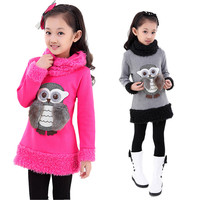 V TREE Autumn Winter Girls Dress Velvet Fleece School Teeangers Girls Dress Fashion 3D Owl Warm