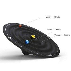 Image 3 - Relojes creativos de mesa con alarma y diseño moderno, relojes magnéticos con diseño de galaxia orbital, relojes de mesa con bolas y decoración para el hogar